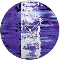 Purple Street 22x22 Circle Clock by Mendo Vasilevski at PristineAuction.com