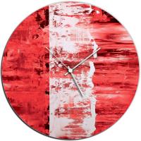 Red Street 22x22 Circle Clock by Mendo Vasilevski at PristineAuction.com