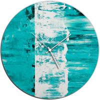 Teal Street 22x22 Circle Clock by Mendo Vasilevski at PristineAuction.com