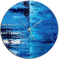 City Blue 22x22 Circle Clock by Mendo Vasilevski at PristineAuction.com