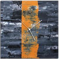 Orange Line 22x22 Square Clock by Mendo Vasilevski at PristineAuction.com