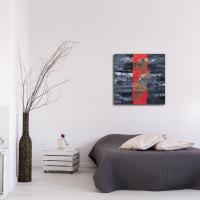 Red Line 22x22 Square Clock by Mendo Vasilevski at PristineAuction.com