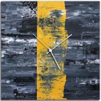Yellow Line 22x22 Square Clock by Mendo Vasilevski at PristineAuction.com