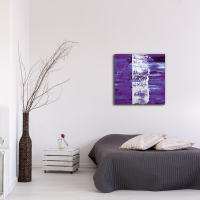 Purple Street 22x22 Square Clock by Mendo Vasilevski at PristineAuction.com