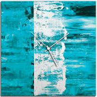 Teal Street 22x22 Square Clock by Mendo Vasilevski at PristineAuction.com