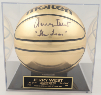 "Jerry West Signed Gold Basketball Inscribed ""The Logo"" with Display Case (Beckett COA) (See Description) at PristineAuction.com"