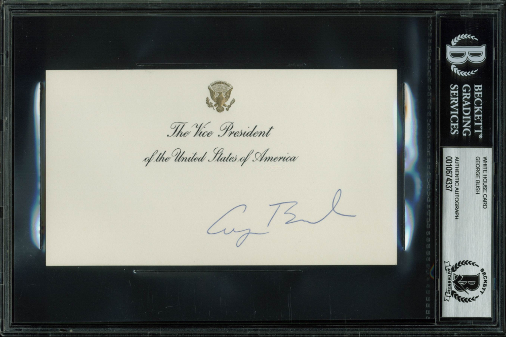 George W. Bush Signed 3.5x6.25 White House Card (BGS Encapsulated) at PristineAuction.com