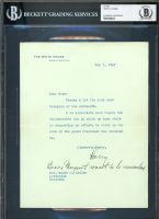 Harry S. Truman Signed 1945 Letter With Inscription (BGS Encapsulated) at PristineAuction.com