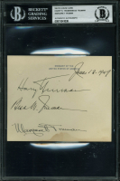 "Harry S. Truman, Bess Truman & Margaret Truman Signed 4.25x5.25 U.S. Embassy Card Inscribed ""June-12-1947"" (BGS Encapsulated) at PristineAuction.com"