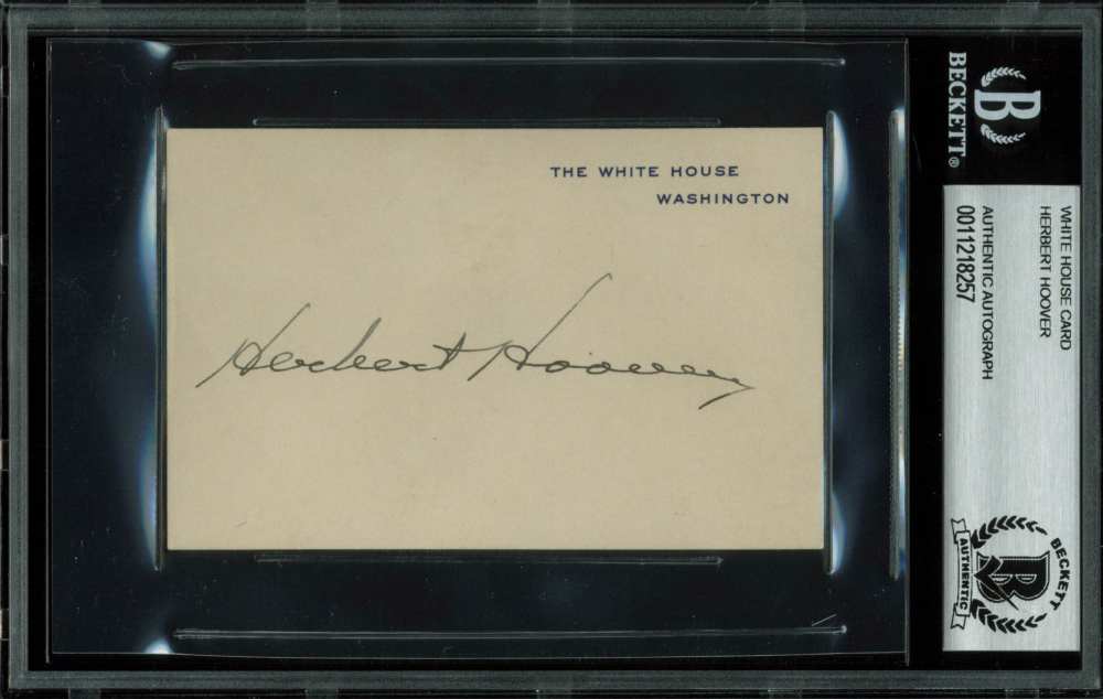 Herbert Hoover Signed 3x4.25 White House Card (BGS Encapsulated) at PristineAuction.com