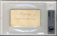 "Jefferson Davis Signed 2.15x3.75 Cut Inscribed ""Respectfully"" (BGS Encapsulated) at PristineAuction.com"