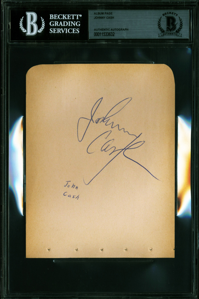 Johnny Cash Signed 4.5x6 Cut (BGS Encapsulated) at PristineAuction.com