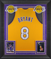 Kobe Bryant Signed Lakers 32x37 Custom Framed Jersey Display (PSA COA) at PristineAuction.com