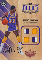 Magic Johnson Signed 2016-17 Upper Deck Supreme Hardcourt NBA 5x7 Relics #NBARJO (Beckett COA) at PristineAuction.com