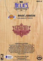 Magic Johnson Signed 2016-17 Upper Deck Supreme Hardcourt NBA 5x7 Relics #NBARJO (Beckett COA) at PristineAuction.com