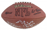"""Official NFL Football Signed by (5) with Walter Payton, Emmitt Smith, Barry Sanders, Frank Gore & Adrian Peterson Inscribed """"NFL Top 5 Leading Rushers Of All Time"""" (Beckett LOA) at PristineAuction.com"""