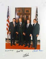 Ronald Reagan, Gerald R. Ford, Jimmy Carter & Richard Nixon Signed 11x14 Photo (PSA LOA) at PristineAuction.com