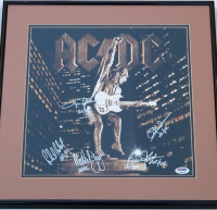 """AC/DC - Stiff Upper Lip"" 16x16 Custom Framed Record Cover Signed by (5) with Angus Young, Malcom Young, Brian Johnson, Cliff Williams & Phil Rudd Inscribed ""AC/DC"" (PSA LOA) at PristineAuction.com"