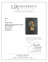 Abraham Lincoln 8x11 Custom Framed Copper Bust from Lincoln Home (University Archives COA) at PristineAuction.com