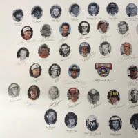 Nascar's 50 Greatest Drivers 26x39 Lithograph Signed by (35) with Dale Earnhardt Sr., Richard Petty, Jeff Gordon, Bobby Allison, Bill Elliott (PSA LOA) at PristineAuction.com