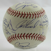 2009 Yankees World Series Champions OML Yankee Stadium Inaugural Season Logo Baseball Signed By (24) With Derek Jeter, Mariano Rivera, Alex Rodriguez (MLB Hologram) at PristineAuction.com