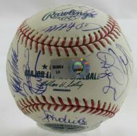 2009 Yankees World Series Champions OML Yankee Stadium Inaugural Season Logo Baseball Signed By (24) With Derek Jeter, Mariano Rivera, Alex Rodriguez (MLB Hologram) at PristineAuction.com