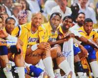 "Lakers ""Showtime"" 16x20 Photo Team-Signed by (5) with Magic Johnson, Kareem Abdul-Jabbar, James Worthy, Mychal Thompson & Bryon Scott (Beckett COA & PSA COA) at PristineAuction.com"