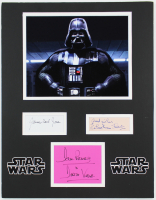 James Earl Jones, Sebastian Shaw & Dave Prowse Signed Darth Vader 14x18 Custom Matted Cut Display With (2) Inscriptions (Beckett LOA) at PristineAuction.com