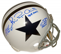 "Troy Aikman, Emmitt Smith & Michael ""Playmaker"" Irvin Signed Cowboys Full-Size Helmet with Multiple Inscriptions (PSA COA) at PristineAuction.com"