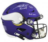 "Adrian Peterson Signed Vikings Full-Size Authentic On-Field Matte Purple SpeedFlex Helmet Inscribed ""2012 MVP"", ""ALL DAY"" & ""ROY 2007"" (Beckett COA) at PristineAuction.com"