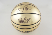 Magic Johnson & Larry Bird Signed Gold Basketball (Schwartz COA) at PristineAuction.com
