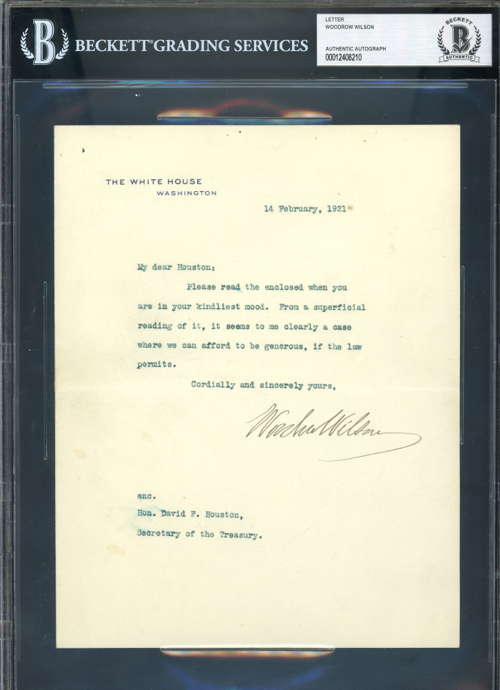 Woodrow Wilson Signed 1921 Letter (BGS Encapsulated) at PristineAuction.com