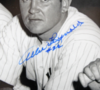 """Mickey Mantle, Allie Reynolds & Johnny Mize Signed Yankees 22x26 Custom Framed Photo Display Inscribed """"No. 7"""" (Beckett LOA) at PristineAuction.com"""