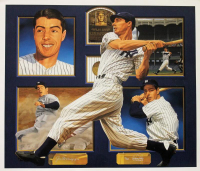 Joe DiMaggio Signed Yankees 31x36 Custom Framed Lithograph Display (PSA LOA) at PristineAuction.com