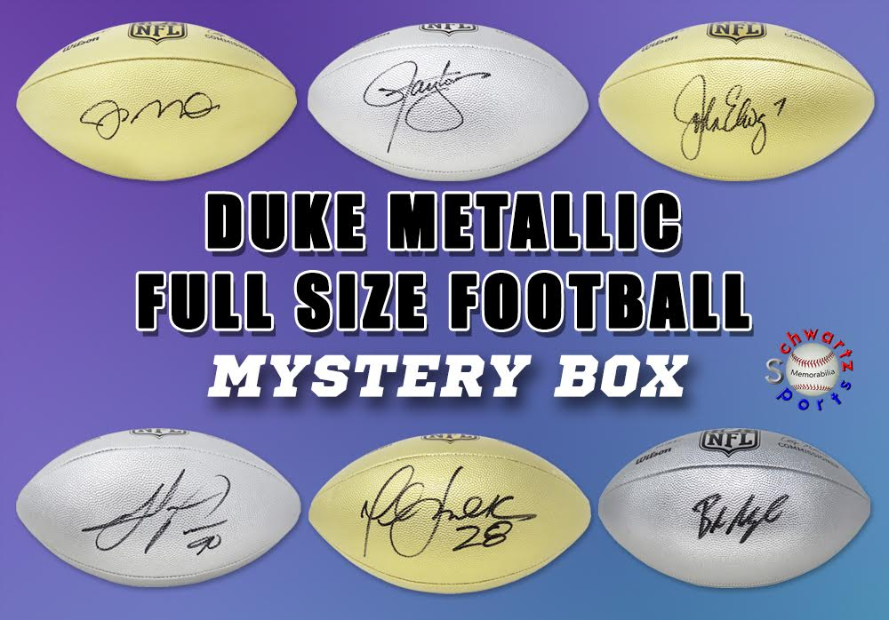 Schwartz Sports Football Player Signed Duke METALLIC Full-Size Football Mystery Box - Series 1 (Limited to 75) (ALL FOOTBALLS ARE GOLD OR SILVER METALLIC!!) at PristineAuction.com