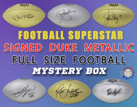 Schwartz Sports Football Superstar Signed Duke METALLIC Full-Size Football Mystery Box - Series 1 (Limited to 75) (ALL FOOTBALLS ARE GOLD OR SILVER METALLIC!!) at PristineAuction.com