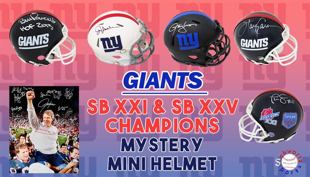 Schwartz Sports New York Giants SB XXI, XXV Champions Signed Mystery Mini Helmet – Series 4 (Limited to 156) - **GRAND PRIZE - Giants Team Signed 16x20 Redemption** at PristineAuction.com