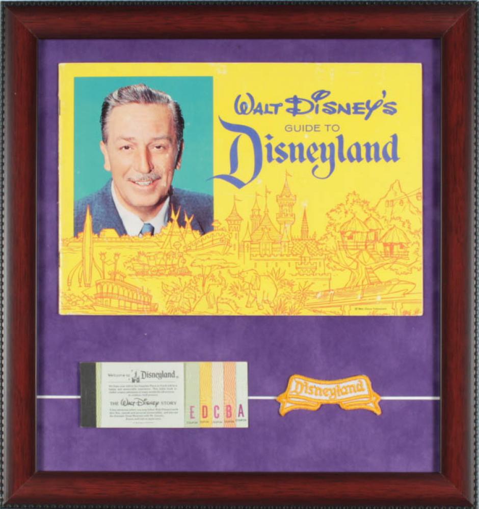 1962 Disneyland Souvenir Guide & Vintage Ticket Book 15x16 Custom Framed Display with Vintage Disneyland Cast Member Uniform Patch at PristineAuction.com