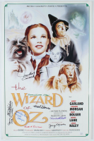 """The Wizard Of Oz"" 16x24 Poster Cast-Signed by (8) with Jerry Marren, Donna Stewart-Hardaway, Karl Slover, Clarence Swensen Inscribed ""Munchkin Love"" & ""Child Munchkin"" (JSA COA) (See Description) at PristineAuction.com"