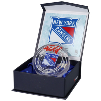 Igor Shestyorkin Signed Rangers Game-Used Ice Crystal Puck (Fanatics Hologram) at PristineAuction.com