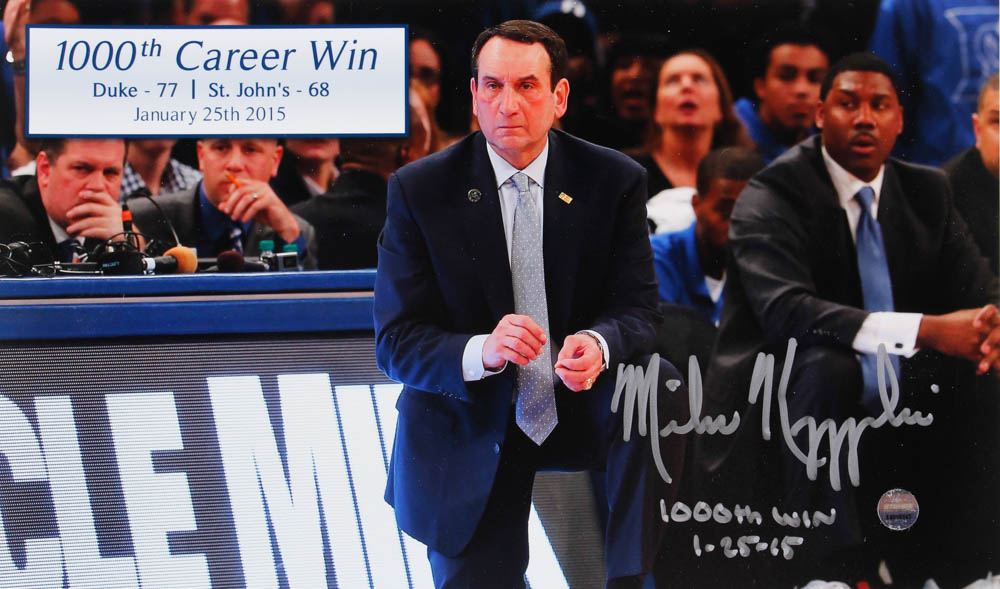 "Mike Krzyzewski Signed Duke Blue Devils 6x10 Photo Inscribed ""1,000th Win"" & ""1-25-15"" (Steiner Hologram) at PristineAuction.com"