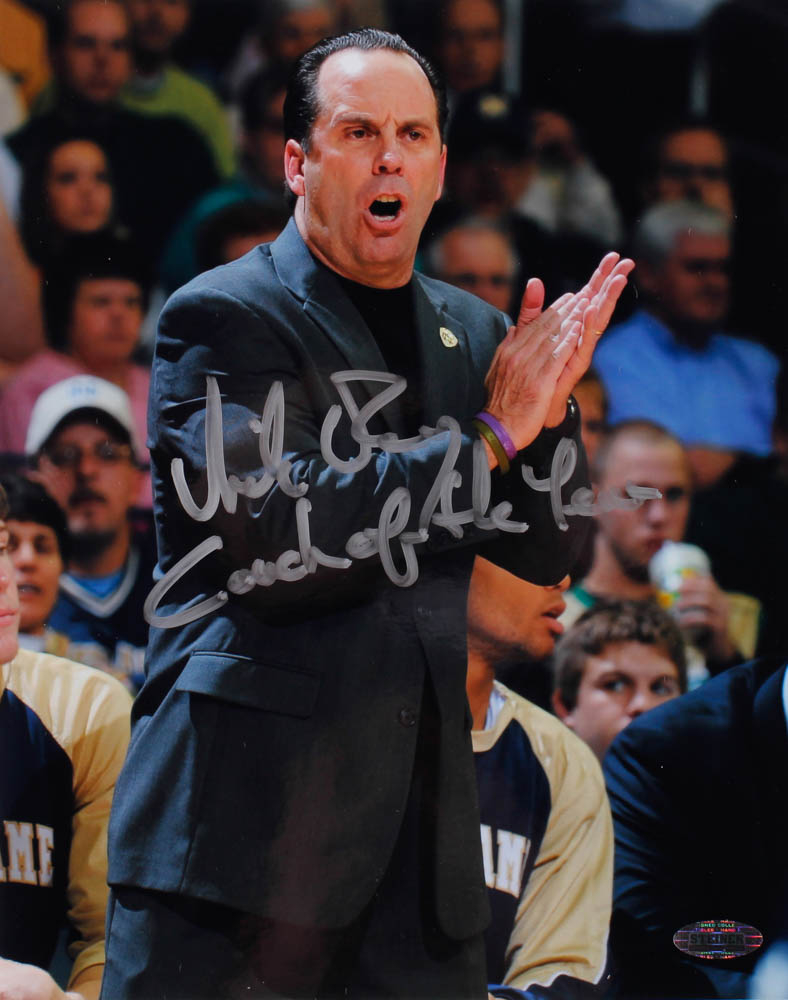 """Mike Brey Signed Notre Dame Fighting Irish 8x10 Photo Inscribed """"Coach of the Year"""" (Steiner Hologram) at PristineAuction.com"""