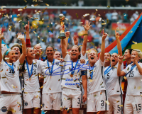 "Christie Rampone Signed Team USA 2015 FIFA World Cup Champions 8x10 Photo Inscribed ""2015 WC Champs"" (Steiner Hologram) at PristineAuction.com"