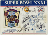 1996 Packers Super Bowl XXXI 9x12 Card with Patch Team-Signed by (35) with Reggie White, Mike Holmgren, Terry Mickens, Don Beebe (JSA LOA) at PristineAuction.com