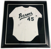 Michael Jordan Signed 44x47 Custom Framed LE Barons Jersey (UDA COA) at PristineAuction.com