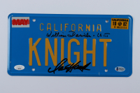 "David Hasselhoff & William Daniels Signed ""Knight Rider"" 6x12 License Plate Inscribed ""Kitt"" (Beckett COA & JSA COA) (See Description) at PristineAuction.com"