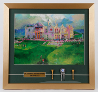 "LeRoy Neiman ""St. Andrews The Old Course"" 19.5x18.5 Framed Print Display with St. Andrews Divot Tool and (2) Tees at PristineAuction.com"
