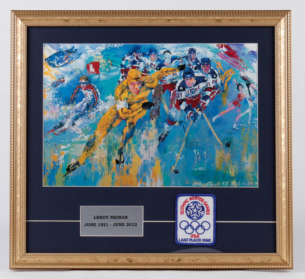 "LeRoy Neiman ""Mircale On Ice"" 19.5x18.5 Framed Print Display with Official 1980 Lake Placid Olympics Patch at PristineAuction.com"