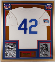 Jackie Robinson Dodgers 32x36 Custom Framed Jersey Display with 50th Anniversary Jackie Robinson Pin at PristineAuction.com