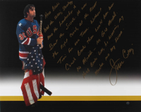 "Jim Craig Signed Team USA ""Miracle on Ice"" 16x20 Photo with Extensive Herb Brooks Story Inscription (Steiner Hologram) at PristineAuction.com"
